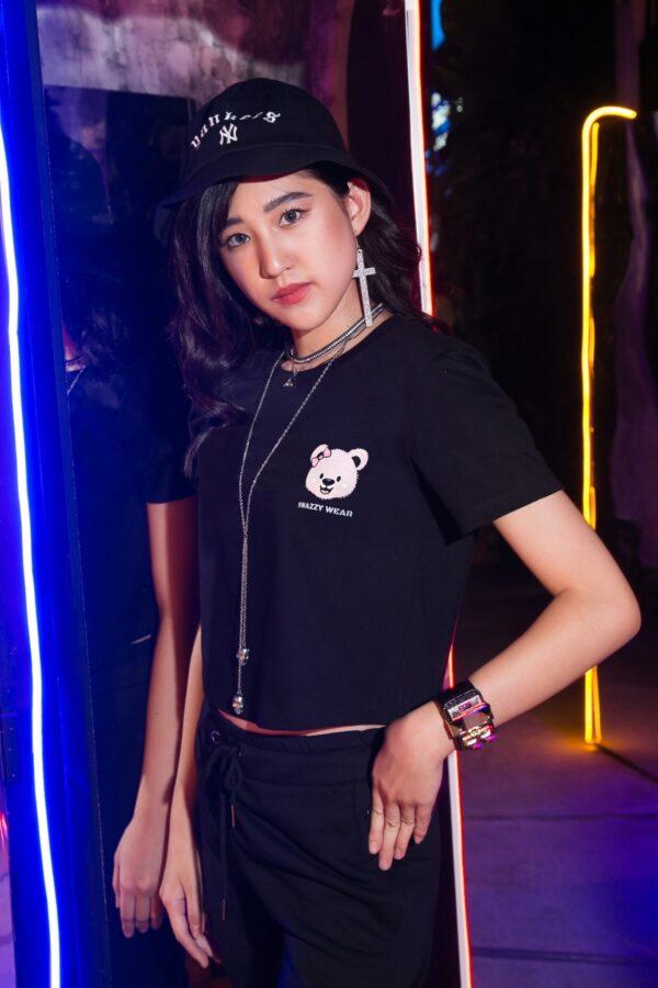SNAZZY Pink Bear Crop T-Shirt 1